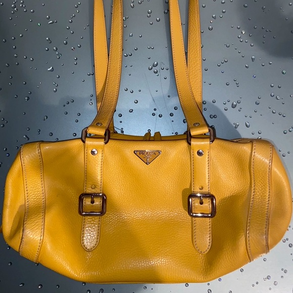 PRADA Genuine Pebble Leather Yellow Shoulder Bag